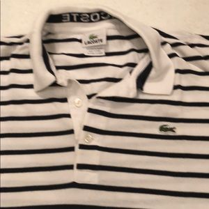 Lacoste Shirts - White and navy striped Lacoste polo.